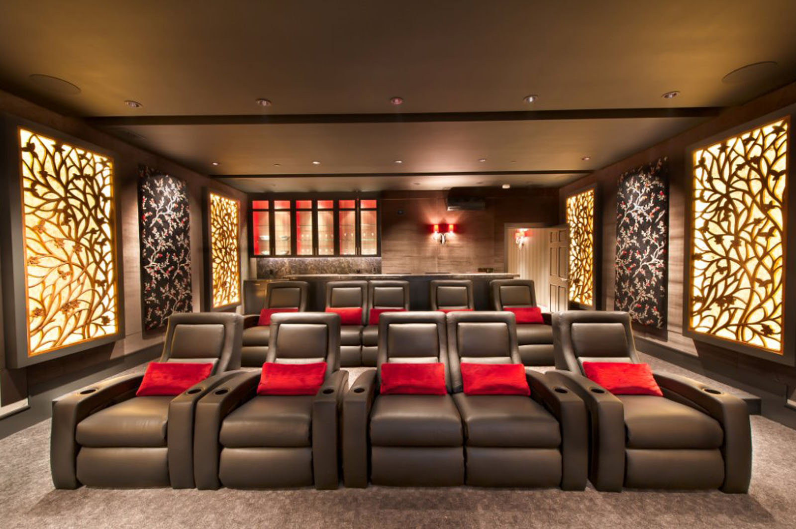 Home Theater Design with Carved Wood Panels